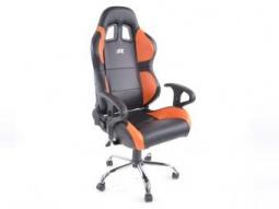 Bürostuhl Sportsitz Phoenix mit Armlehne, Kunstleder schwarz/orange